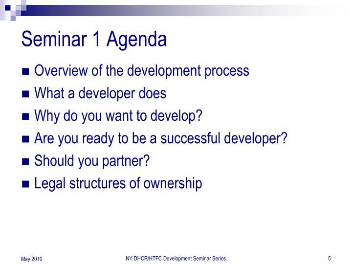 Seminar 1 Agenda
