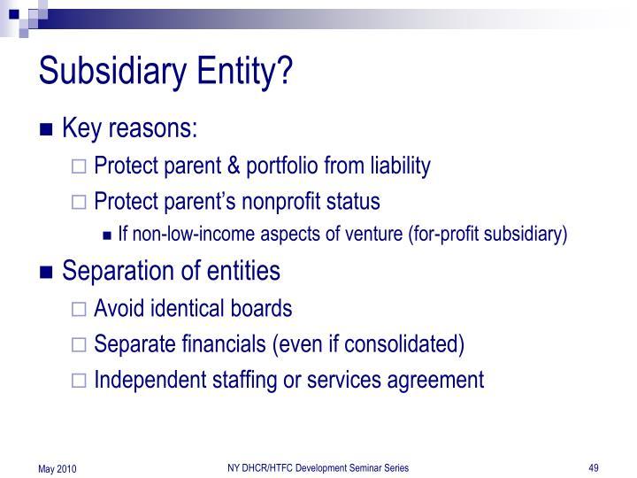 Subsidiary Entity?