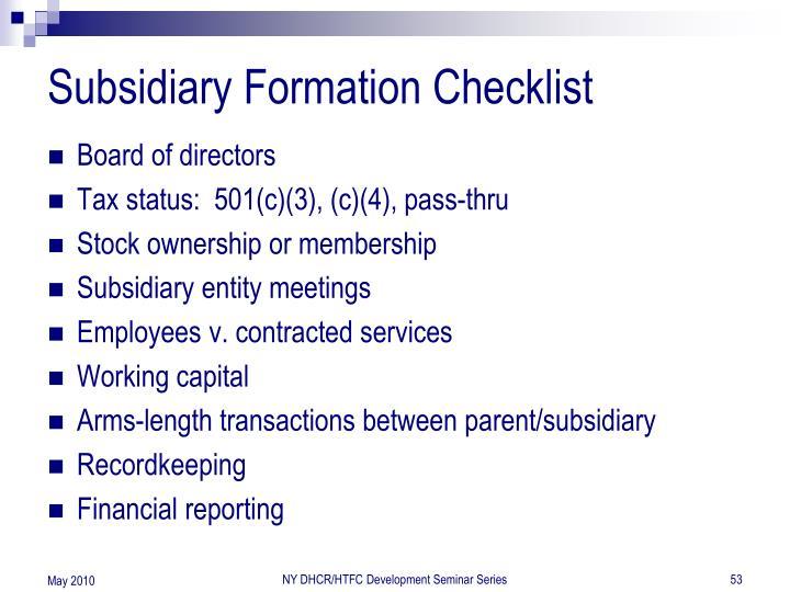 Subsidiary Formation Checklist