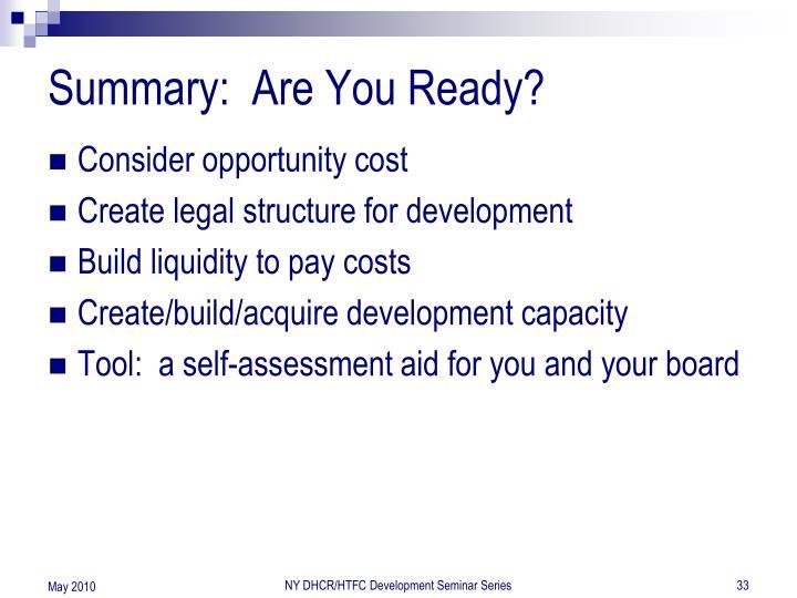 Summary:  Are You Ready?