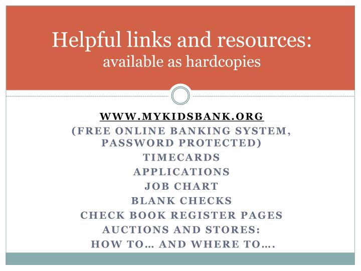 Helpful links and resources: