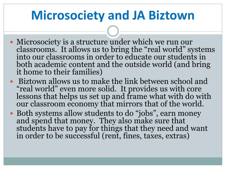 Microsociety and JA Biztown