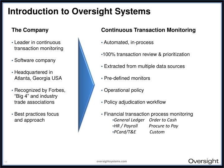 Introduction to Oversight Systems