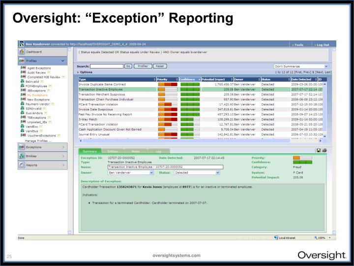 "Oversight: ""Exception"" Reporting"