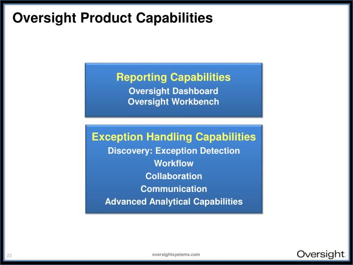 Oversight Product Capabilities