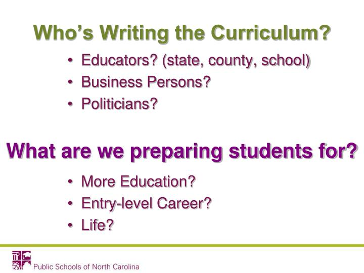Who's Writing the Curriculum?