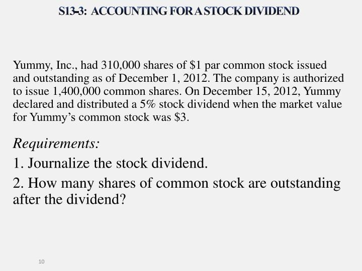 S13-3:  Accounting for a stock dividend