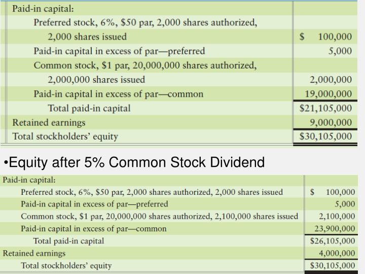 Equity after 5% Common Stock Dividend
