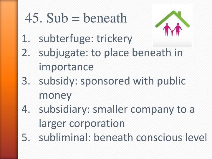 45. Sub = beneath