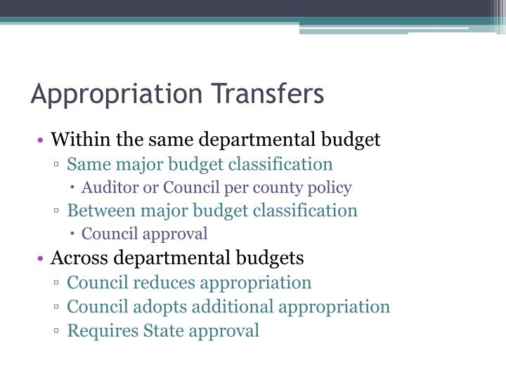 Appropriation Transfers