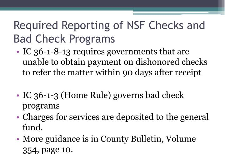 Required Reporting of NSF Checks and Bad Check Programs