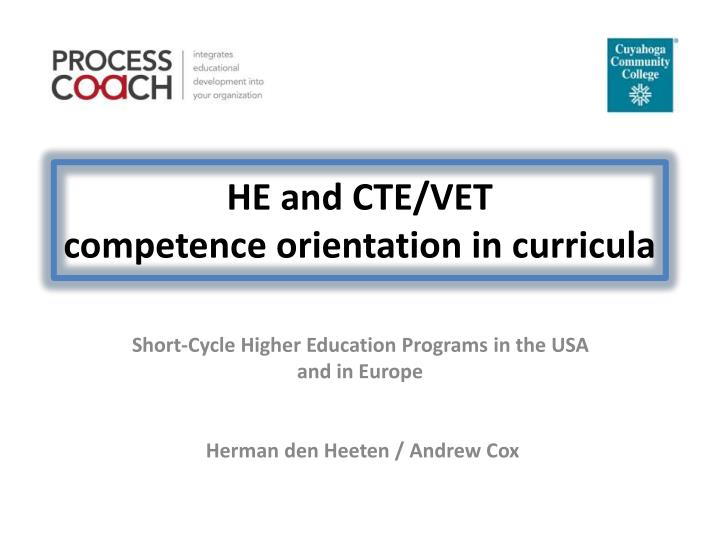 He and cte vet competence orientation in curricula