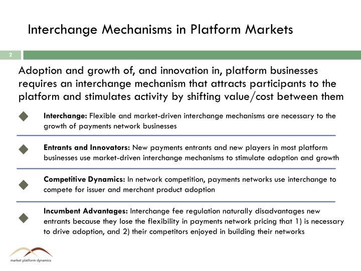 Interchange Mechanisms in Platform Markets