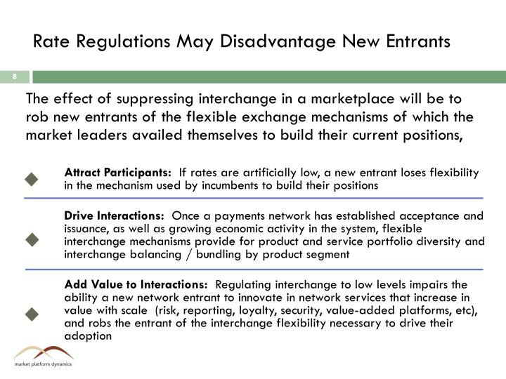 Rate Regulations May Disadvantage New Entrants