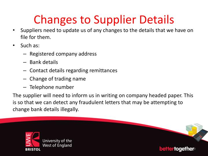 Changes to Supplier Details
