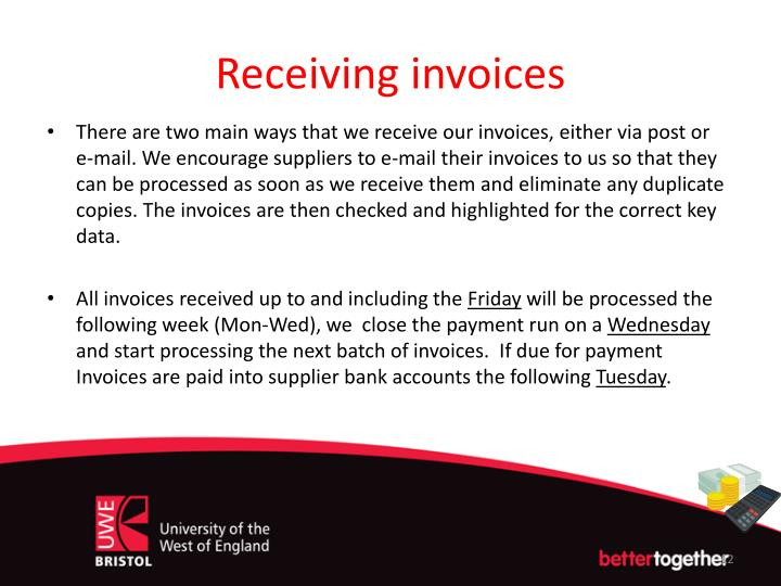 Receiving invoices