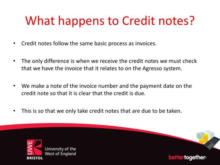 What happens to Credit notes?