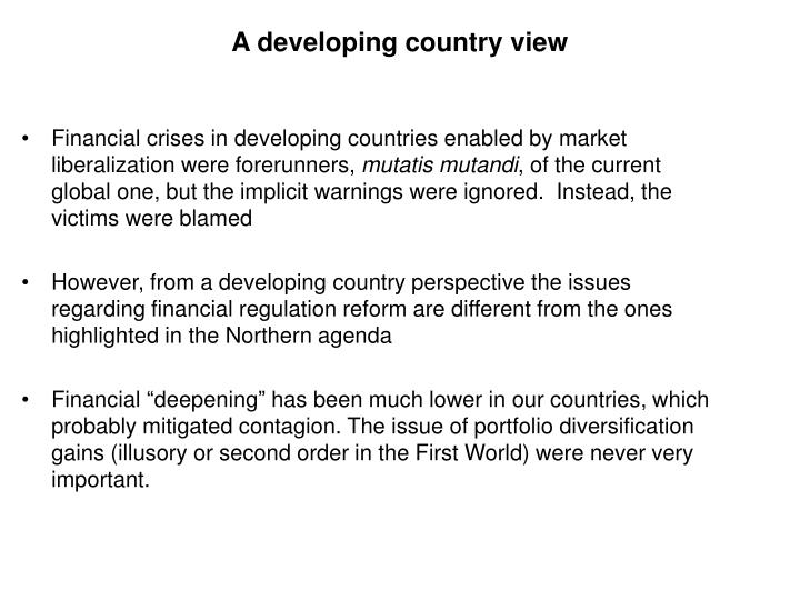 A developing country view