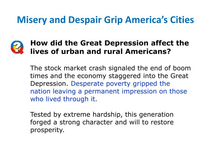 Misery and Despair Grip America's Cities