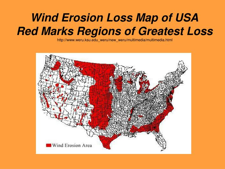 Wind Erosion Loss Map of USA