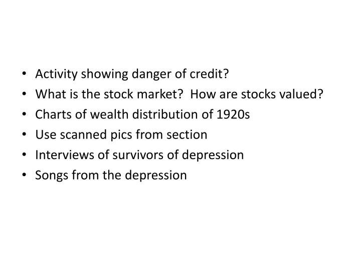 Activity showing danger of credit?