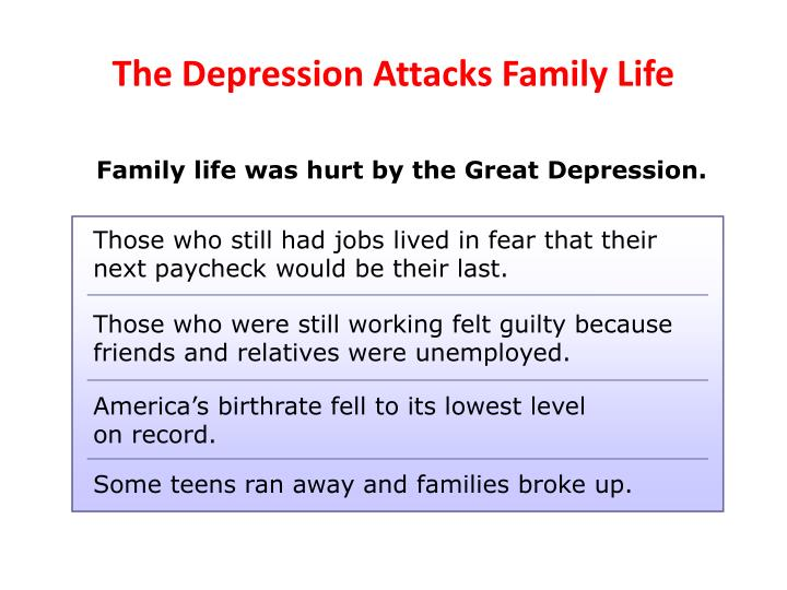 The Depression Attacks Family Life