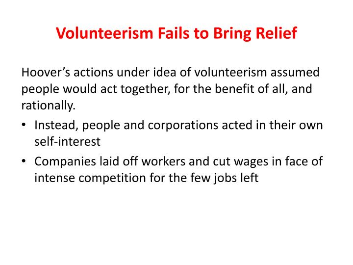Volunteerism Fails to Bring Relief
