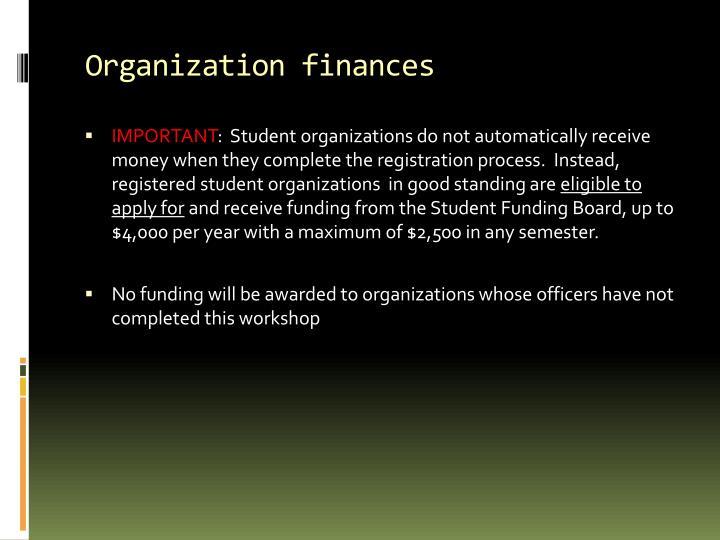 Organization finances