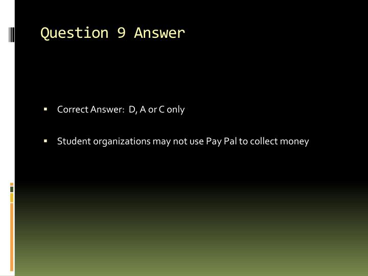 Question 9 Answer