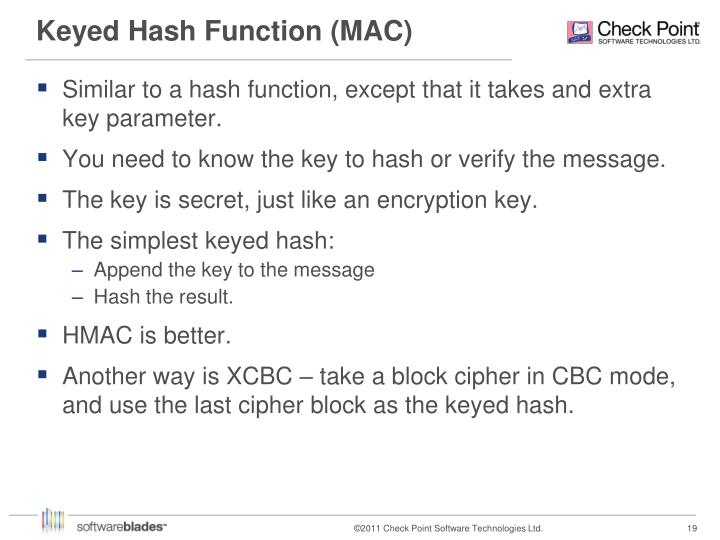 Keyed Hash Function (MAC)