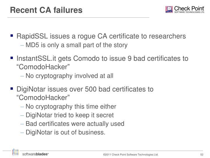 Recent CA failures