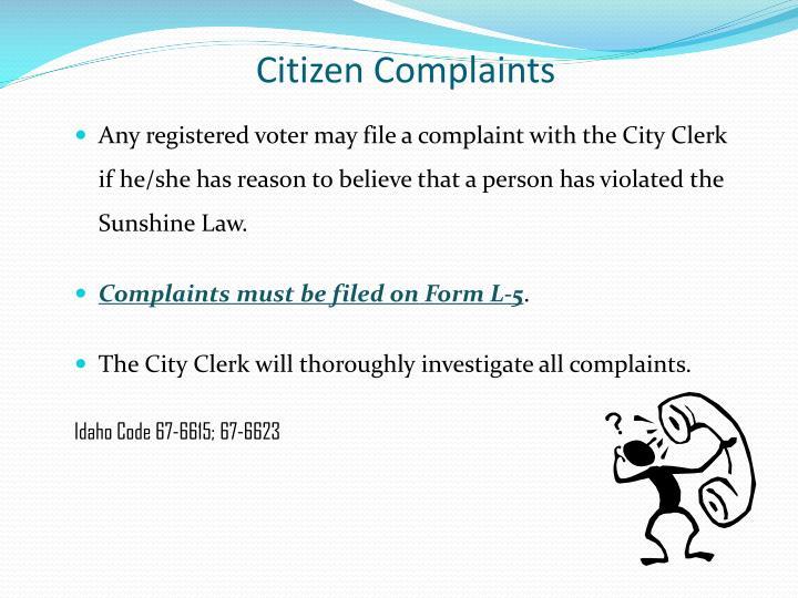 Citizen Complaints