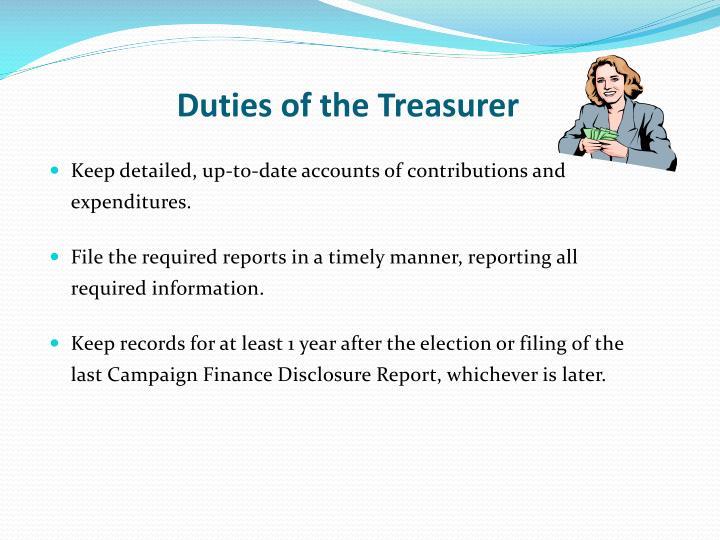 Duties of the Treasurer