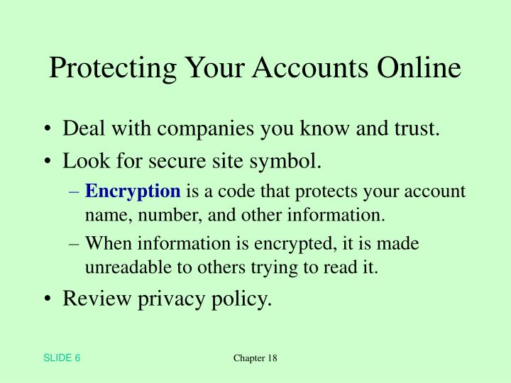 Protecting Your Accounts Online