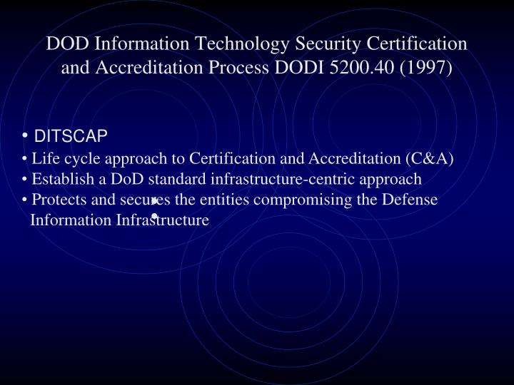 DOD Information Technology Security Certification and Accreditation Process DODI 5200.40 (1997)
