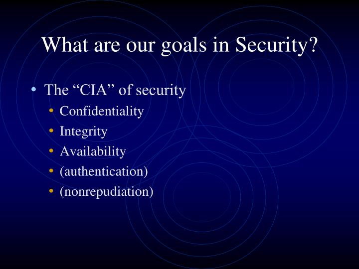 What are our goals in Security?