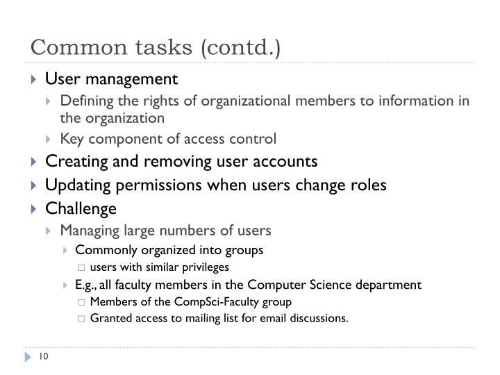Common tasks (contd.)