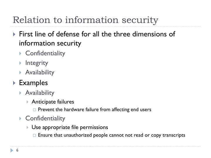 Relation to information security