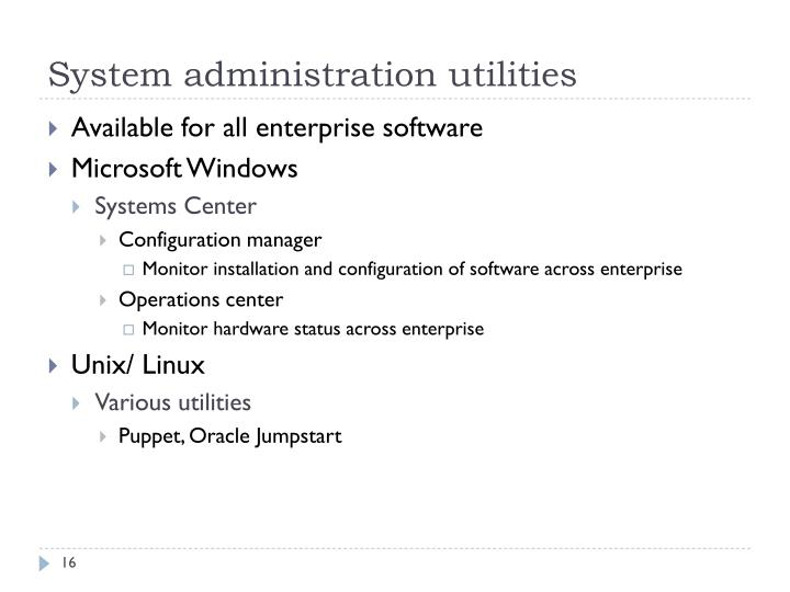 System administration utilities