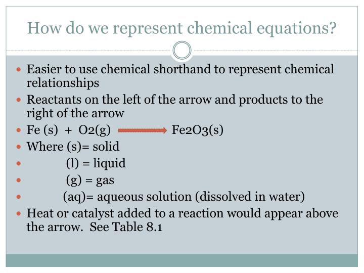 How do we represent chemical equations?