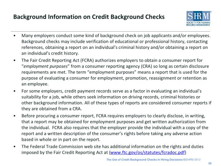 Background Information on Credit Background Checks