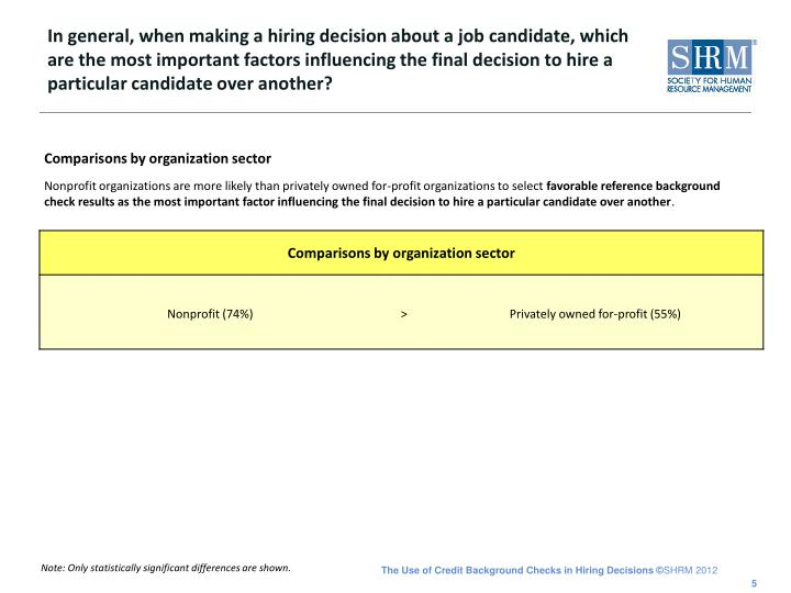 In general, when making a hiring decision about a job candidate, which are the most important factors influencing the final decision to hire a particular candidate over another?