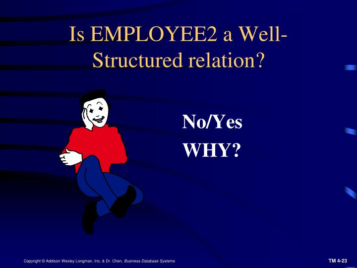 Is EMPLOYEE2 a Well-Structured relation?