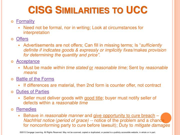 CISG Similarities to UCC