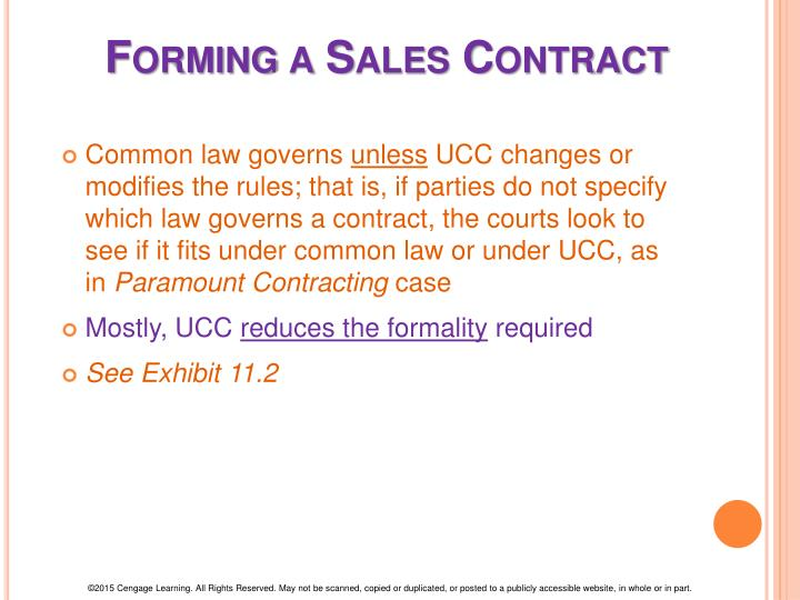 Forming a Sales Contract