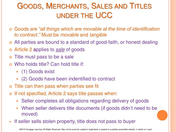 Goods, Merchants, Sales and Titles under the UCC