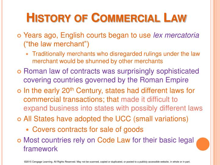 History of commercial law