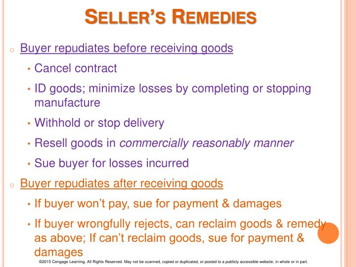 Seller's Remedies