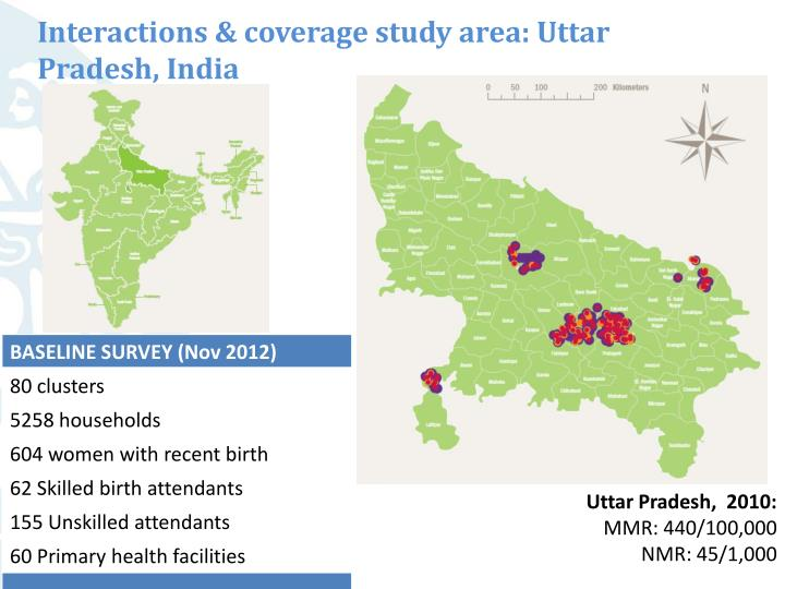 Interactions & coverage study area: Uttar Pradesh, India
