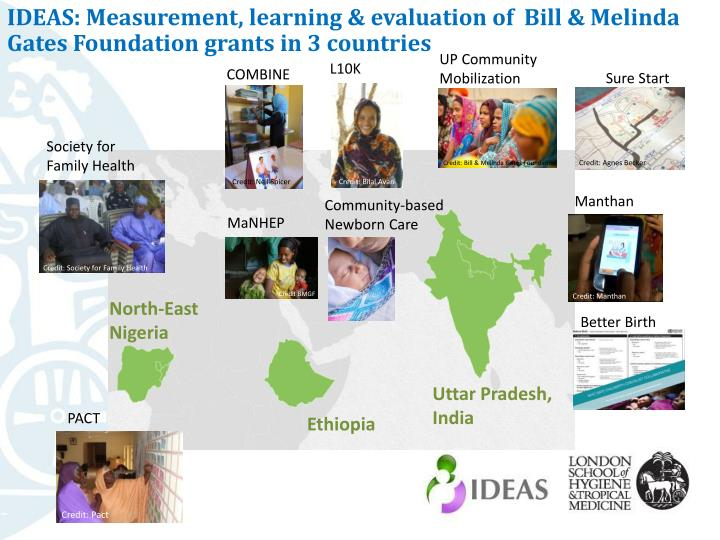 IDEAS: Measurement, learning & evaluation of  Bill & Melinda Gates Foundation grants in 3 countries